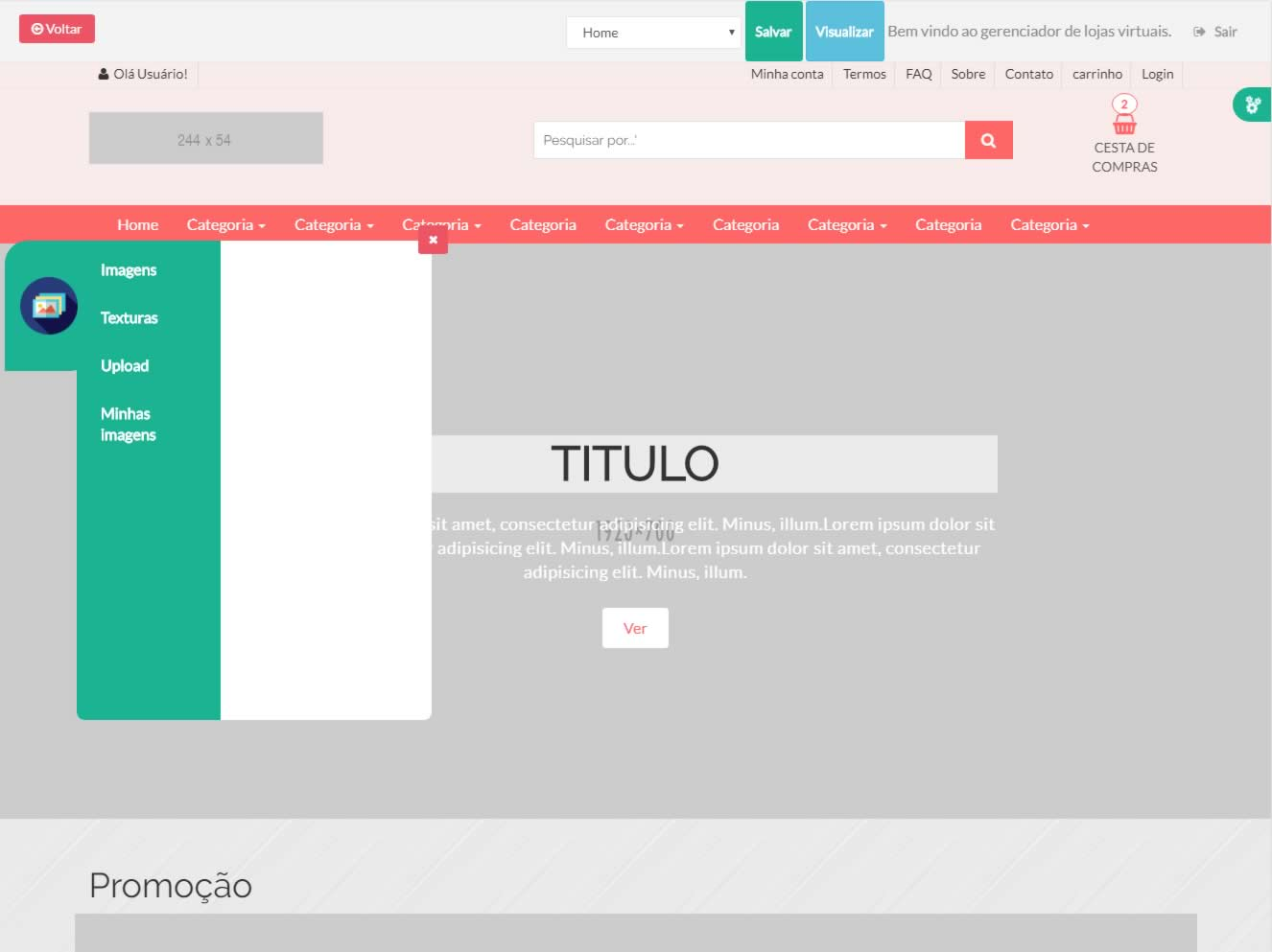 Editor de Templates da loja virtual TWI - Turbo Web Internet