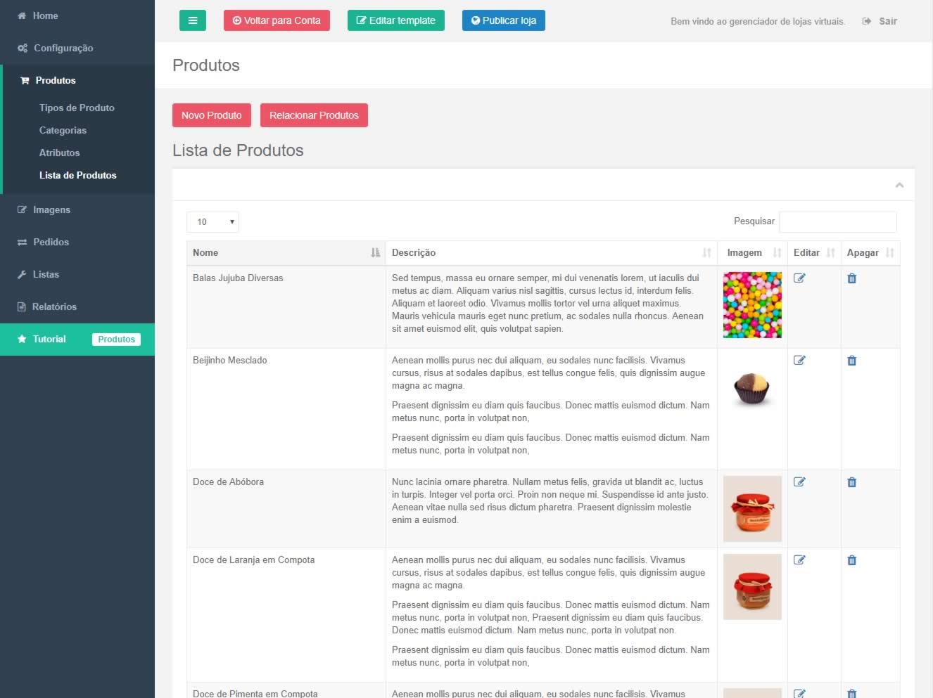Listagem de produtos da loja virtual TWI - Turbo Web Internet